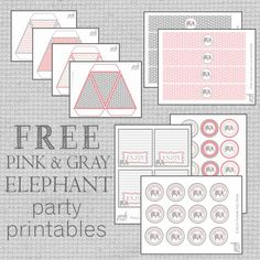 Free Party Printables - Pink & Gray Elephant First Birthday, Freebies include Happy bday Banner, Bunting, cupcake toppers, thank you tags and more!