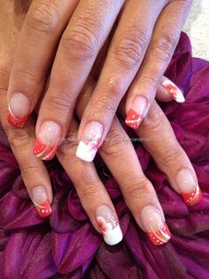 Freehand nail art with one stroke flowers
