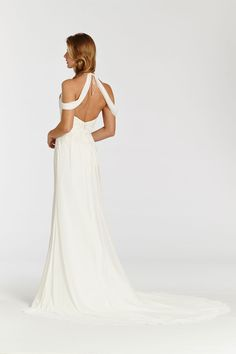 Ivory Crinkle Chiffon soft A-line bridal. Delicate beaded and embroidered bodice and hip. Spaghetti strap halter neckline with draped crinkle chiffon flowing over shoulders. Bridal Gowns, Wedding Dresses from Ti Adora by Alvina Valenta - JLM Couture - Bridal Style 7507 by JLM Couture, Inc.