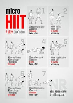 Micro HIIT 7-day program is ideal for a busy week when fitting exercise in is a challenge. You can still stay active and get fitter, improve your cardiovascular system and your core with these seven easy-to-follow microworkouts. It is perfect for home training and it is hotel and travel friendly. #fitness #workout #awesome  Neila Rey - Google+