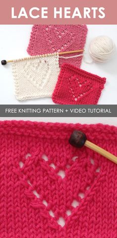 How to Knit Lace Hearts Knit Stitch Easy Free Knitting Pattern + Video Tutorial by Studio Knit. This free knitting pattern is perfect for beginners who are just learning how to knit. Knitting Stiches, Knitting Patterns Free, Free Knitting, Crochet Patterns, Start Knitting, Knitting For Beginners, Knit Stitches, Free Pattern, Cross Stitches
