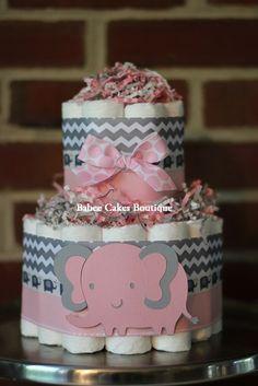 Mini 2 Tier Elephant Diaper Cake Pink Gray by BabeeCakesBoutique