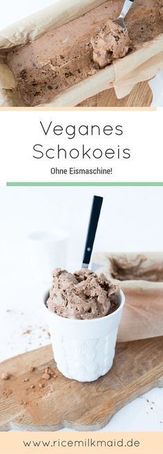 Cremiges, Veganes Schokoeis auf Basis von Kokosmilch und Datteln. Klick dich rüber zum Blog und erhalten meine ultimative vegane Einkaufsliste gratis zum Download! | Ricemilkmaid Blog