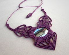 Macrame necklace mandala necklace amethyst spiritual by QuetzArt