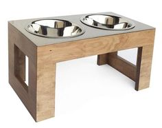 A stunning piece. Beautifully constructed hardwood base with a heavy-duty stainless steel top, both proudly made in USA. Available in small or tall dog sizes and two beautiful finishes. Raised bowl po
