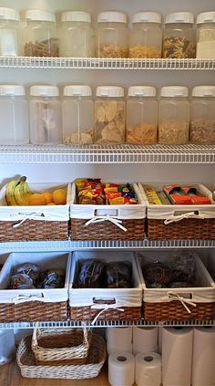 Great pantry organization. I love clear containers for dry goods. The baskets…