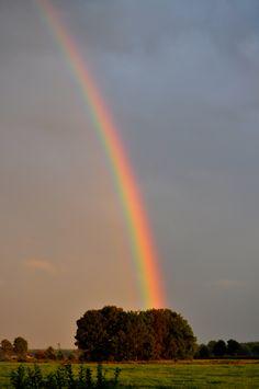 zie het verschil van kleur in en buiten de regenboog