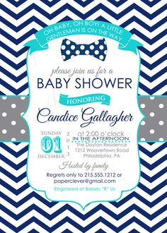 Retro Bow Tie Baby Shower Invitation Navy Chevron Orange Polka Dot, Little  Man Invites, Baby Boys Party Printable, Dapper Sprinkle (REBNCOD) | Boys,  ...