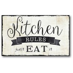 Bring a playful and attractive accent to your home with the Kitchen Rules Wall Decal. This water-resistant fabric sign displays the most important rule when it comes to eating. It is easy to apply and reposition without worrying about sticky residue.