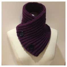 Purple Chunky Neckwarmer  Scarf with Buttons by EterKnityCreations