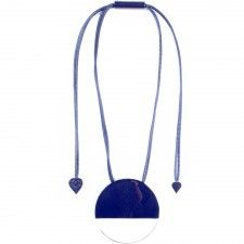 ZSISKA pendant round shape with transparant and navy part, HAND MADE