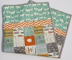 Baby Quilt Boy or Girl Blanket All Natural Birch Organics Fabrics Feather River Mint Green Blue Grey Gray Orange Elk Deer Woodland Forest Nature Outdoors Fishing Camping Canoes Nursery Crib Bedding Cot Blanket Handmade by SunnysideDesigns2