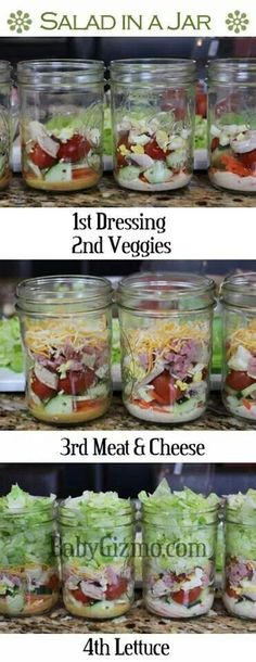 Salad in a jar - healthy and easy lunches! Find some new ideas for a healthy lunch to pack Tip Pack your lunch Sarah Thomas Top 10 Tips Teacher Wellbeing Self care Healthy eating Mason Jar Meals, Meals In A Jar, Mason Jars, Healthy Snacks, Healthy Eating, Healthy Recipes, Tasty Meals, Quick Meals, Healthy Camping Meals