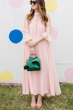 Jennifer Lake Style Charade in a pink pleated cold shoulder maxi dress, No. Casual Gowns, Dressy Outfits, Stylish Dresses, Modest Dresses, Fashion Dresses, Kurta Designs Women, Blouse Designs, Indian Designer Outfits, Designer Dresses