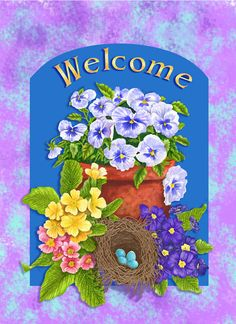 welcome flag spring pansy  550 x 756