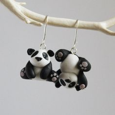 Cute panda earrings nickel free polymer clay by HatchingHutDesign