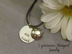 SPORTS Necklace -Name Necklace - Leather Necklace  - Hand Stamped Jewelry - Volleyball - Basketball. $18.00, via Etsy.