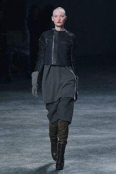 Rick Owens Fall 2011 - Love the contrasting textures. Suede, sheen and matte.