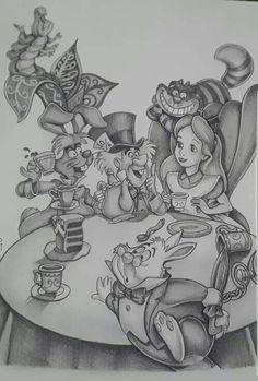 alice in wonderland quotes Alice in Wonderland scene grayscale drawing Alice In Wonderland Scenes, Alice In Wonderland Drawings, Adventures In Wonderland, Disney Drawings, Cartoon Drawings, Drawing Sketches, Art Drawings, Arte Disney, Disney Art