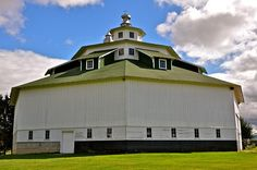"Octagon Barn Michigan / Octagonal barn built for James Purdy by Murno Brothers builders of Gagetown Michigan in 1924. It's 102' across and 70' high. Each wall is 24' to the eave and 42' wide. was promoted as the""barn of the future"""