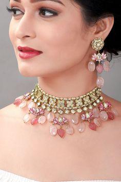 Jewelry Design Earrings, Pink Jewelry, Fashion Jewelry Necklaces, Necklace Designs, Bridal Jewelry, Fancy Jewellery, Jewelry Party, Fashion Necklace, Beaded Jewelry