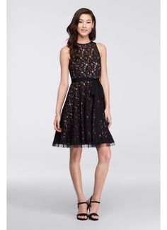 Short Lace Dress with Illusion Neckline and Sash VC3276D