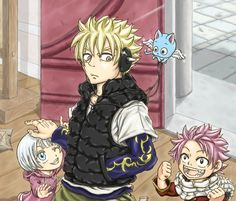 Laxus, Lisanna, Natsu and Happy when they were younger