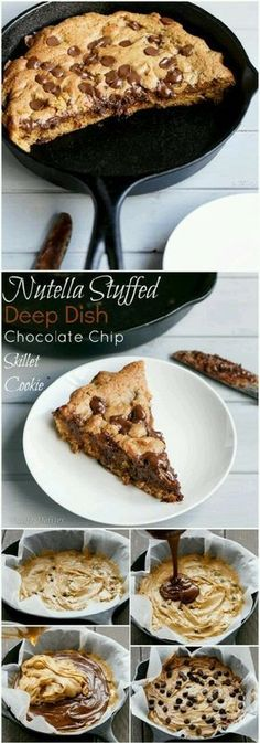 Nutella Stuffed Deep Dish Chocolate Chip Skillet Cookie - Food and drink - Cookies Recipes Just Desserts, Delicious Desserts, Dessert Recipes, Yummy Food, Cookie Desserts, Recipes Dinner, Healthy Desserts, Healthy Recipes, Skillet Chocolate Chip Cookie