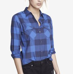 Checked convertible-sleeve boyfriend shirt, $49.90; Express.