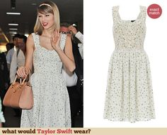 Taylor Swift's daisy embroidered dress at Narita Airport, Tokyo. Outfit Details: http://wwtaylorw.com/3072