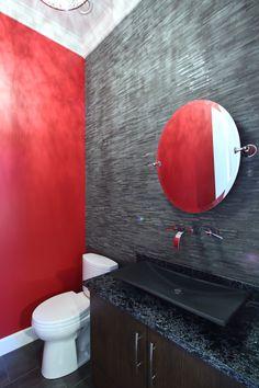 Dark bathroom with a pop of red Dark Bathrooms, Beautiful Bathrooms, Vancouver, Custom Built Homes, Backdrops, Sink, House Design, Pop, Mirror