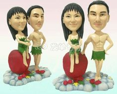 Adam and Eve themed cake topper
