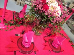 Linen in pink and red - wonderful combination according to me:-)