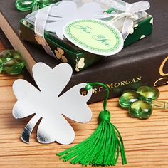 Irish Themed Shamrock Bookmarker Party Favor- Great for the Irish Themed Wedding/ St. Partick's Day Party - Found at CeceliasBestWishes.com