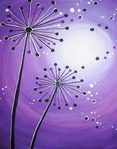 Dandelion Painting, Diy Painting, Painting & Drawing, Painting Classes, Easy Canvas Painting, Canvas Paintings, Rock Painting, Wine And Canvas, Paint And Sip