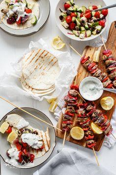 Greek Lamb Souvlaki with a Garlic Yogurt Dip! Game day eats have never looked so good.