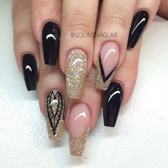 Gold black clear glitter coffin nails