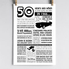 Personalized 50th Birthday Poster 1966 by laurelcovecreative