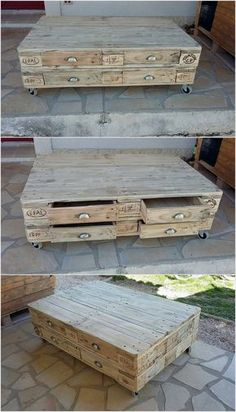 This simple and creative designed pallet coffee table is a perfect option for your house corner. This coffee table is not just meant to drink coffee over it because it has the portion of storage too which you can use for storing some important equipments. You can switch it with wheels in order to move it easily from one place to another.
