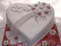 Small Heart Wedding Cake -Could also be top of multi layer cake (Small Wedding Cake) I like the top design. Omit fondant drape, and put hope on small cake, faith on medium cake and love on large cake with another set of hearts under each word, like in the Heart Shaped Wedding Cakes, Heart Shaped Cakes, Heart Cakes, Pretty Cakes, Cute Cakes, Beautiful Wedding Cakes, Beautiful Cakes, Fondant Cakes, Cupcake Cakes