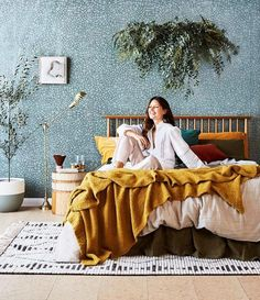 This eco-inspired bedroom showcases natural materials and earthy colours to create a down-to-earth look. Interior Stylist, Interior Design, Real Living Magazine, Earthy Bedroom, Sustainable Building Materials, Vogue Living, Boho Home, Bedroom Styles, Eclectic Decor
