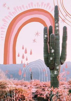 Sweet Skies by @raychponygold // Poster print available at www.ponygoldstudio.com/shop // #illustration #art #collage #saguaro #desert #cactus #pink #colourpalette