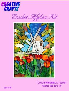 Dutch Windmill Tulips Crochet Afghan Kit