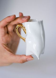 Coffee cup  Porcelain cup  white with gold ceramic cup por ENDEsign, $35.00