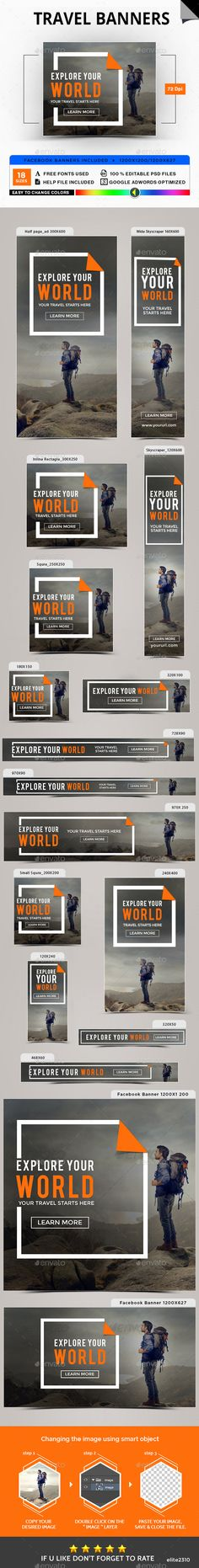 Travel Banners - #Banners & Ads #Web Elements Download here: https://graphicriver.net/item/travel-banners/20056261?ref=alena994