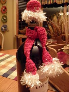 Scarf and Hat Wine Bottle Decoration