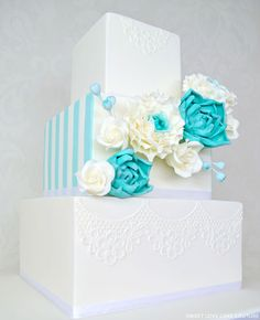 Beautiful Cake Pictures: White Lace & Teal Flowers Wedding Cake: Cakes with Flowers, Wedding Cakes