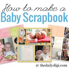 Create a gorgeous custom baby book or first year album with digital scrapbooking Paper Bag Scrapbook, Baby Scrapbook Pages, Mini Scrapbook Albums, Scrapbook Supplies, Mini Albums, Pregnancy Scrapbook, Scrapbook Examples, Scrapbook Designs, How To Make A Paper Bag