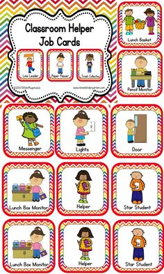 Classroom Helper and Job Cards Rainbow Chevron Classroom Job Cards. Lots to choose from. Preschool Classroom Jobs, Preschool Job Chart, Classroom Helper Chart, Kindergarten Classroom Management, Classroom Labels, Classroom Organisation, Free Preschool, Classroom Door, Preschool Graduation