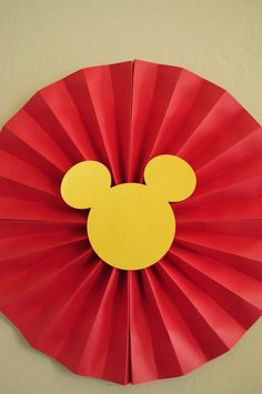 Mickey Paper Fan Decoration - Josh's 3rd Mickey Mouse Clubhouse Celebration | CatchMyParty.com